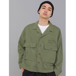 【二手】YU SELECT-優選 DELUXE M號 日本製軍綠色寬短版口袋軍裝外套