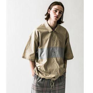 【二手】YU SELECT-優選 monkey time M號 卡其色撞色寬版壓釦襯衫