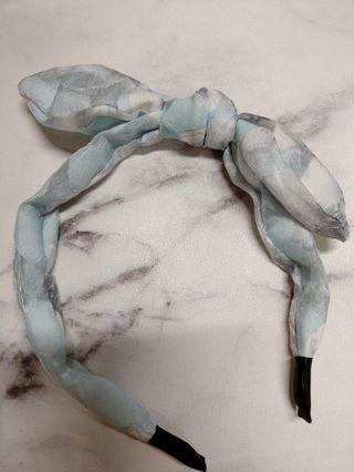 全新 藍白扶桑花 髮箍