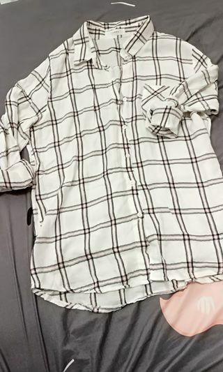 正韓 棉質 格紋長袖襯衫