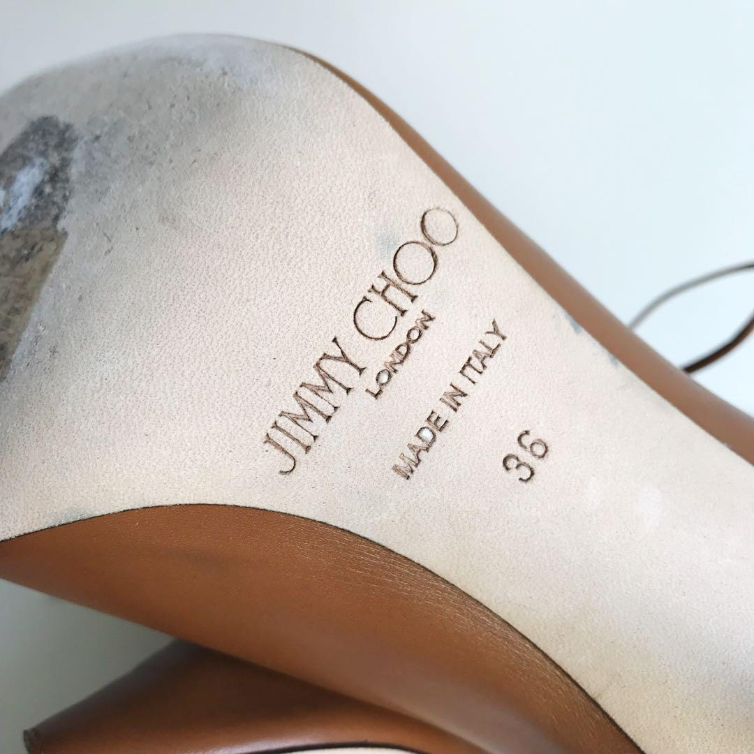$900 Jimmy Choo brown peep toe booties size 36 / 6