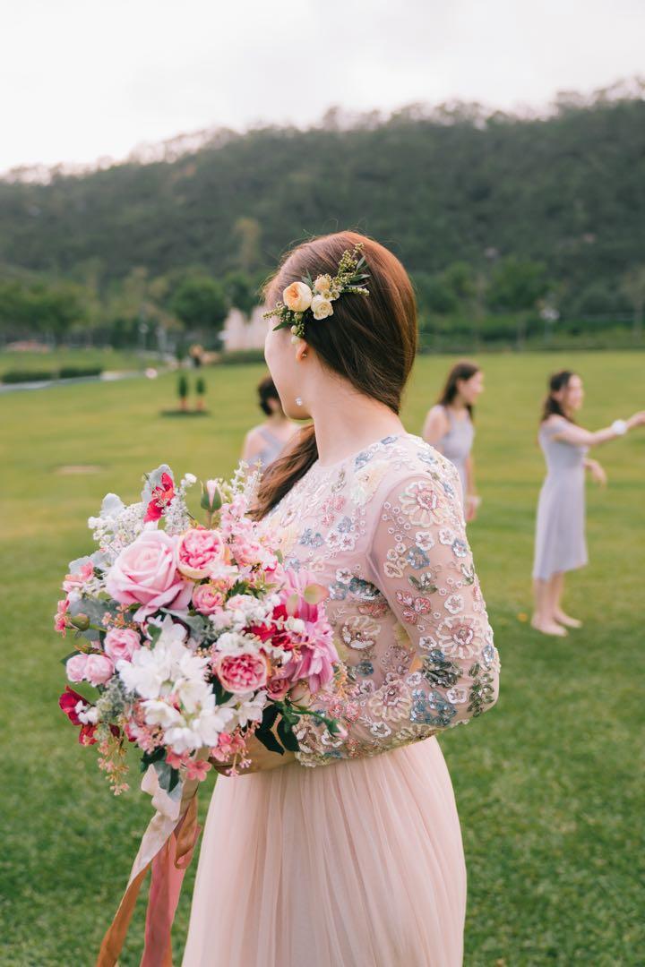 (未賣) Lemongrass wedding 絲花花球 幸福承傳