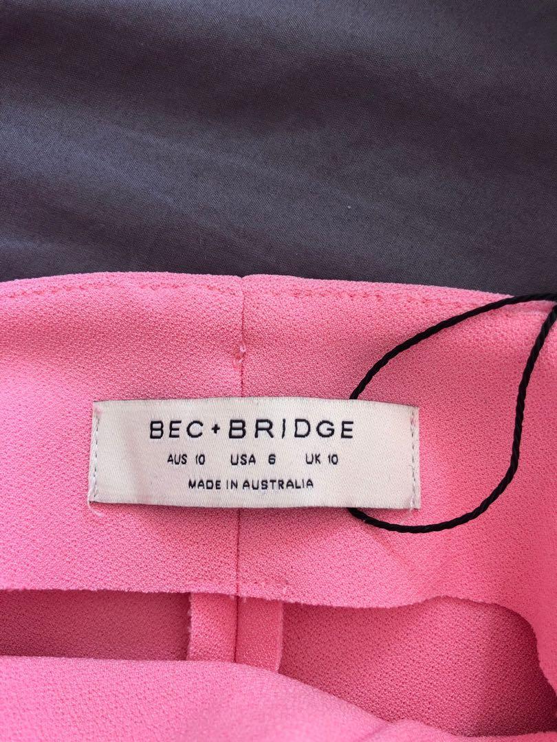 Bec and Bridge Hibiscus Islands midi dress in Flamingo pink