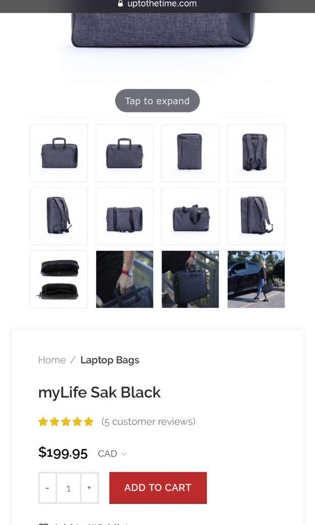 BRAND NEW Convertible Laptop Bag charcoal/black with dust bag