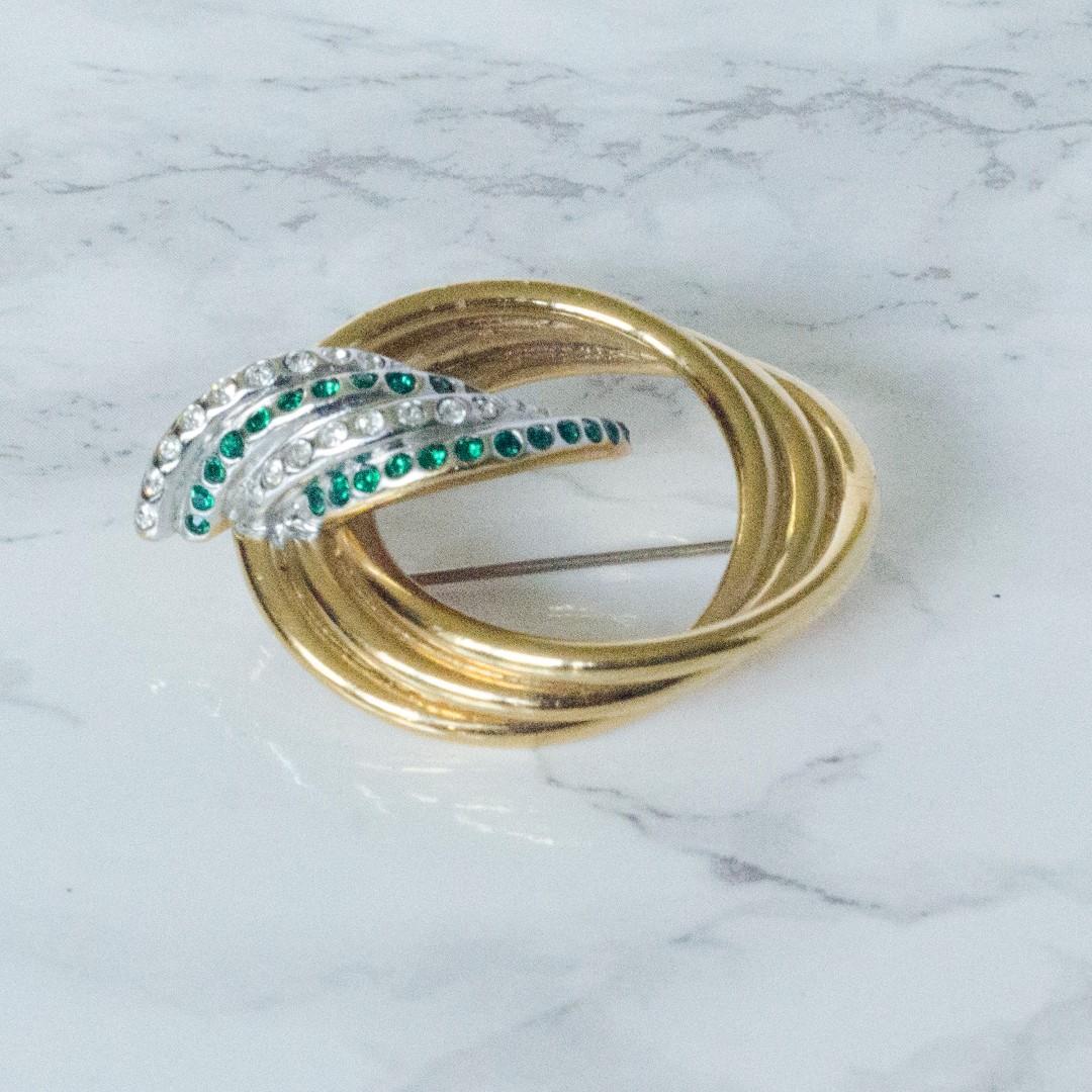 Butler Green Green and Gold Rhinestone Circle Brooch