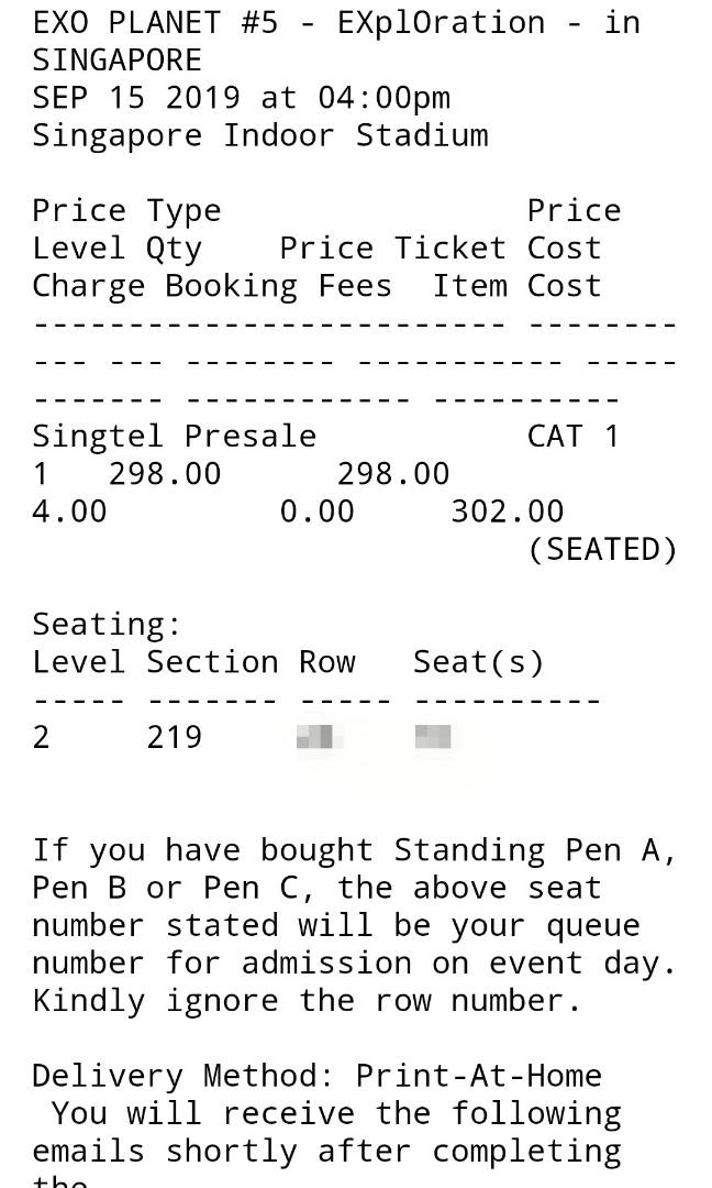 Below cost! [ cat 1 seated] Selling EXO exploration concert ticket