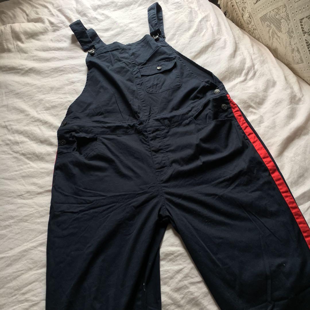 Dark Navy Blue & Red Striped Overalls | Excellent Condition