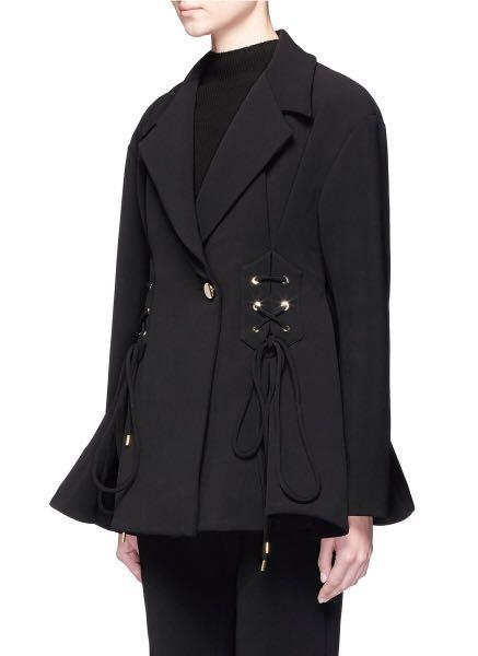 Ellery Women's Brand New Black Battleship Lace-up Flared Jacket, Size 4 AU/UK