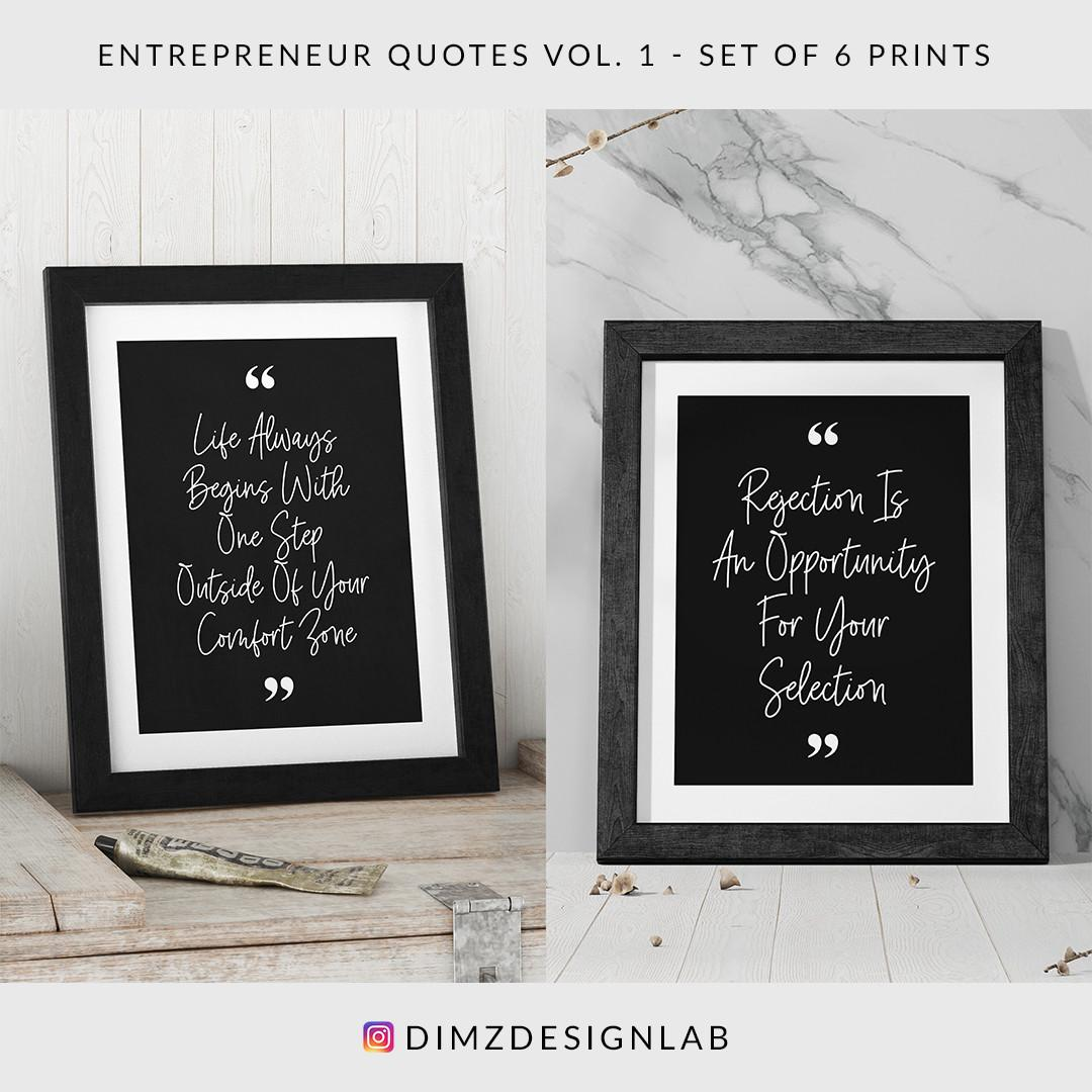 Entrepreneur Quotes Vol. 1, Set of 6 Prints, Digital Download, Art Print, Wall Art, Wall Decor, Wall Hanging