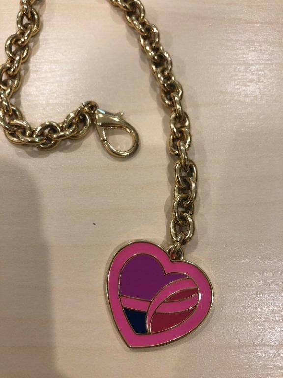 "Estee Lauder Breast Cancer Awearness 2013 Gold Heart 8.5"" Bracelet"