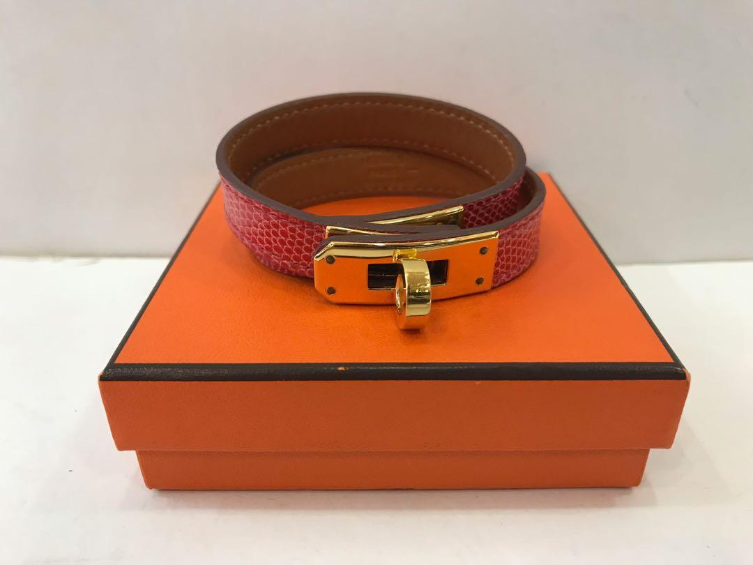 HERMES LIZARD NILOTICUS KELLY DOUBLE TOUR BOUGAINVILLEA 'S' SIZE 'T' STAMP GHW