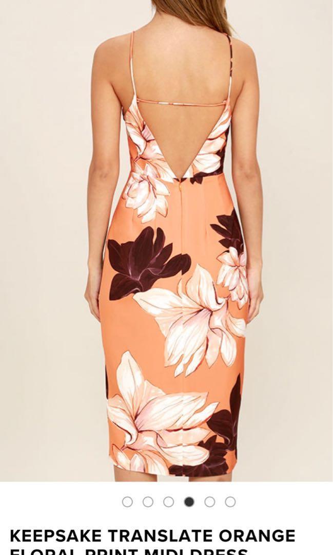 Keepsake translate orange floral midi dress size 8