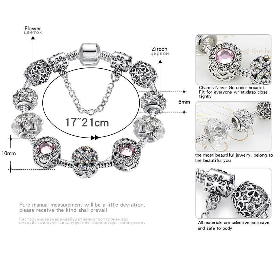 Original Tibet Silver Crystal Four Leaf Clover Bracelet