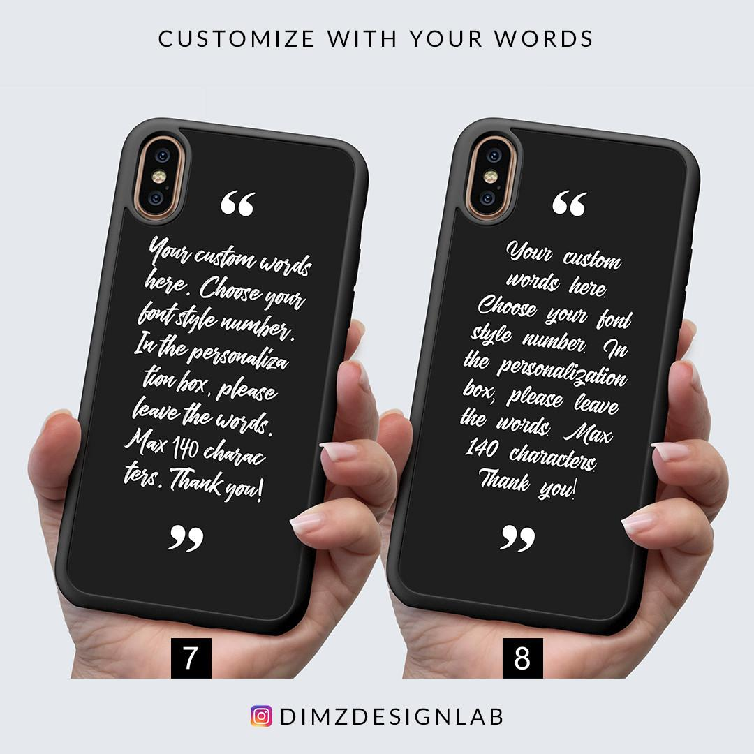 Personalized Customized Text, Typography, Quotes, Bible Verse, Song Lyrics iPhone XS Max XR X 8 Plus 8 Samsung Galaxy S9 Plus S9 Note 8 S8 Plus S8 Case Cover