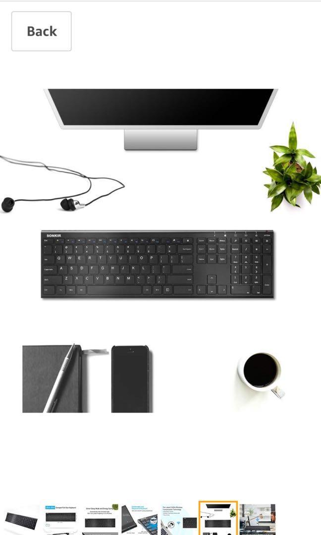 Sonkir Wireless Keyboard, K-18 2.4GHz Ultra Thin Rechargeable Aluminum Full Size Wireless Keyboard for Windows, Laptop, PC, Notebook