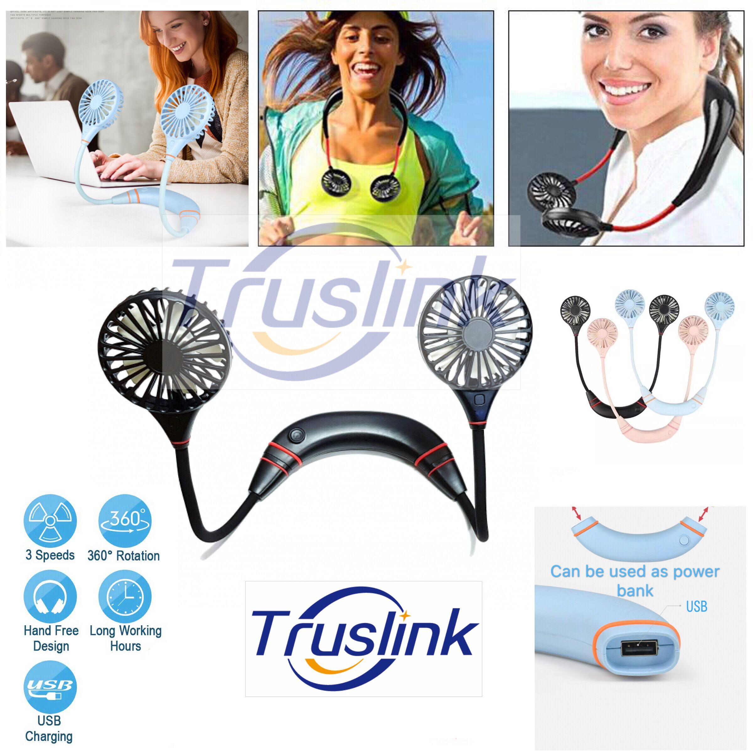 The latest Version 3 Speed Wearable Dual Sports Fans with USB Power Bank Charger Sports Wear Fan Hand Free Personal Neck Fan, Headphone Design Wearable Portable Neckband Mini Fan with USB Rechargeable for Traveling Outdoor Indoor
