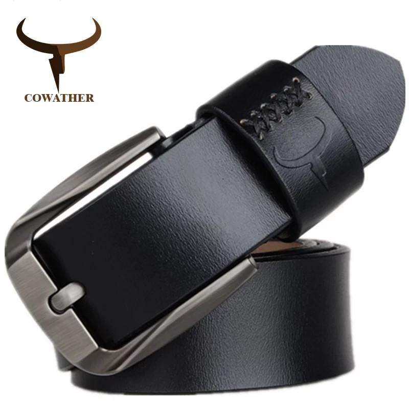 Vintage style pin buckle cow genuine leather belts