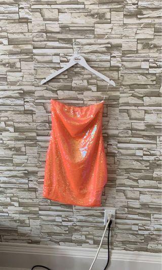 Sequin neon orange mini dress BNWT