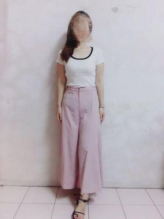 知性優雅粉色寬擺長褲