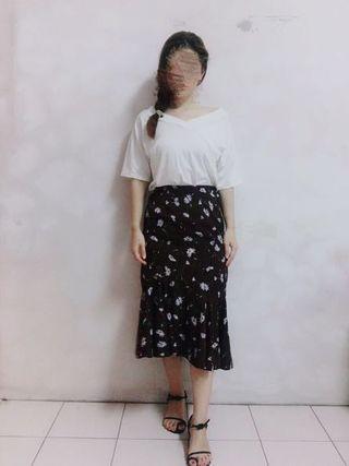 古典優雅花朵圖案魚尾長裙