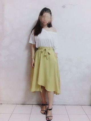 繽紛色系氣質綁帶裙擺不規則剪裁長裙