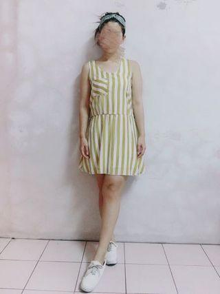 輕薄活力色系後鏤空條紋洋裝