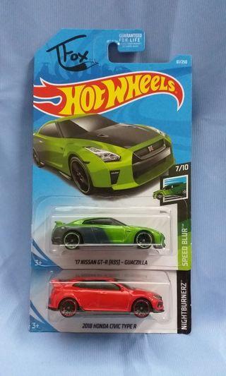 Nissan GTR R35 & Honda Civic Type R Hot Wheels Hotwheels