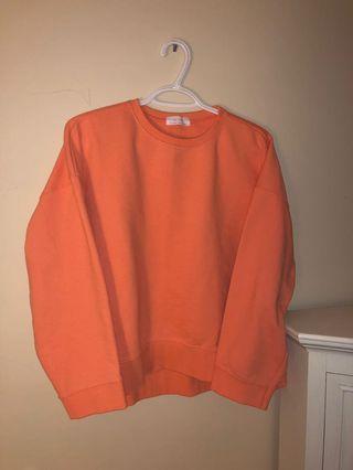 Oak and Fort neon orange crew neck sweater