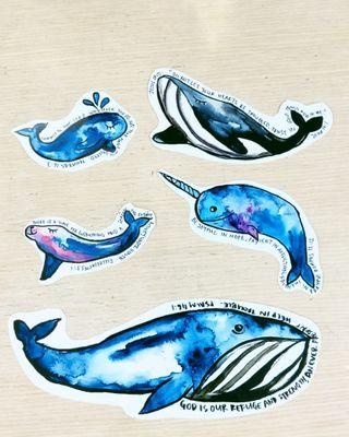 Watercolour Whale Stickers