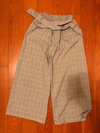 格紋綁帶寬褲