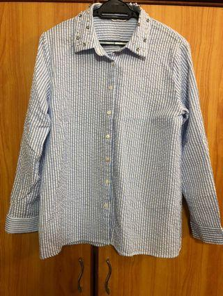 Brands Outlet Striped Top in Baby Blue