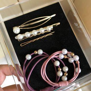 珍珠少女必備髮夾3件組+發圈2件組