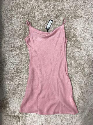 Cotton On Pink Satin Cowl Dress
