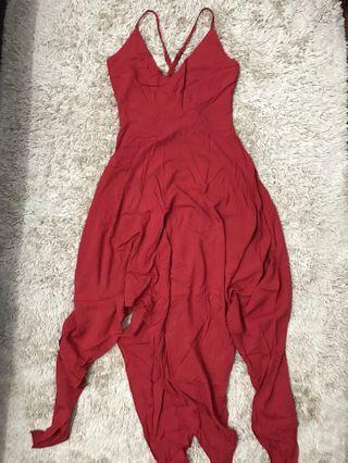 Red Cross-back slits dress