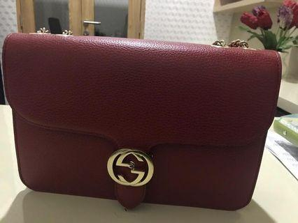 Gucci marmont crossbody chain red leather shoulder bag