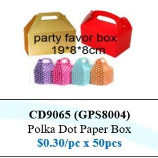 Children's Day Special - Polka Dot Paper Box ($15/50pcs bundle) HSEN