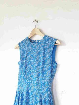 H&M Blue Floral Flare Dress