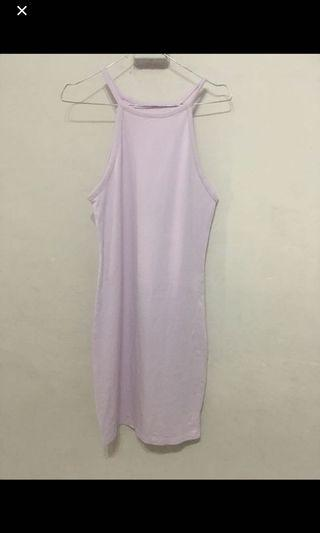forever21 soft purple dress bodycon halter dress cut tag