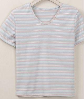 韓版修身條紋T-shirt(全新)