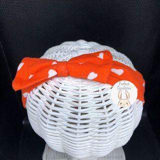 Preloved Simple Bow Heart Pattern Orange