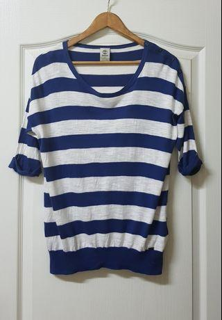 Timberlamd女生藍白條紋針織上衣