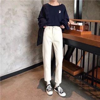 超人氣商品 米白直筒褲 杏色直筒寬褲