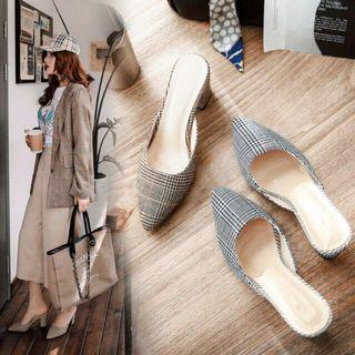 Women plaid Heels sandals