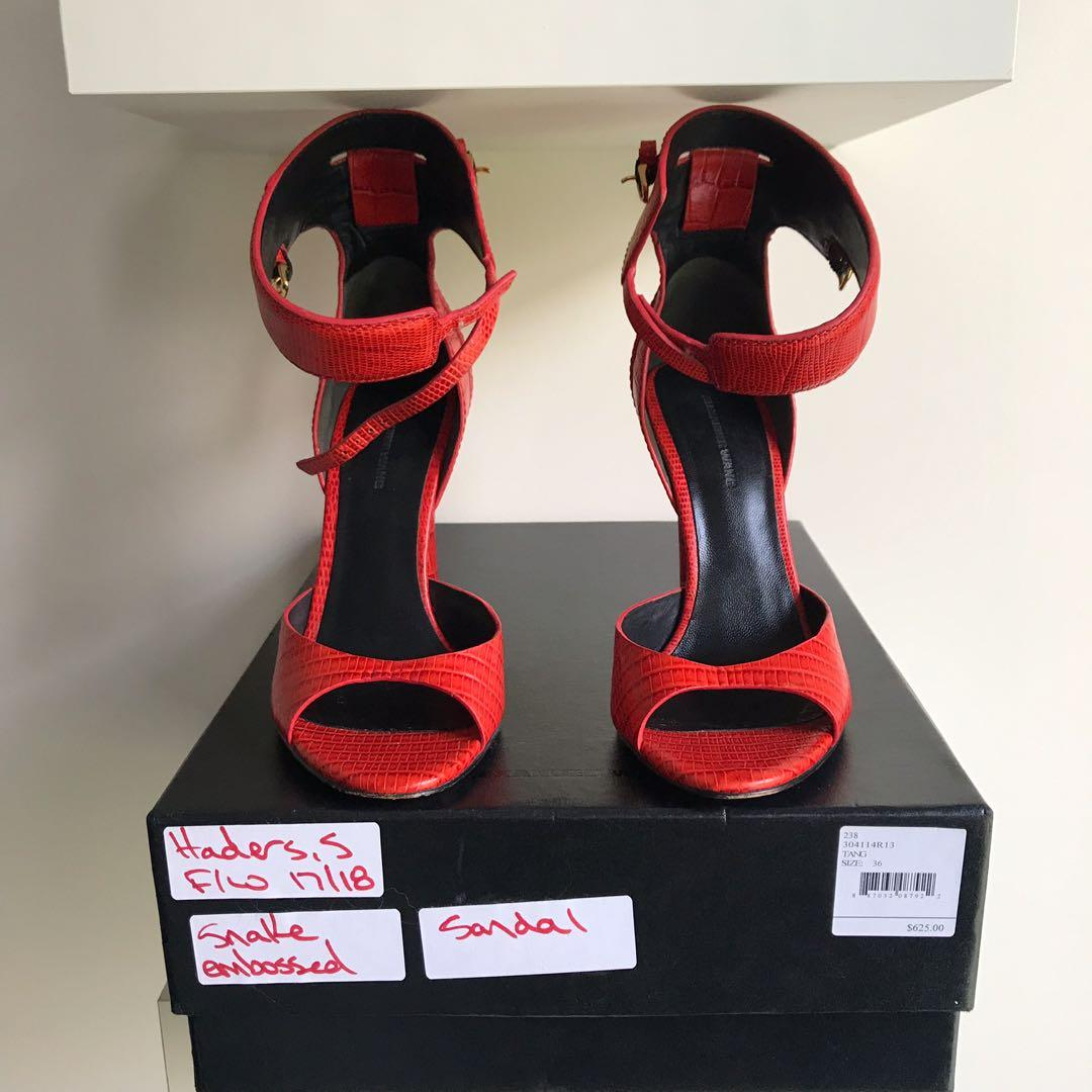 $800 Alexander wang red crocodile sandals size 36 / 6