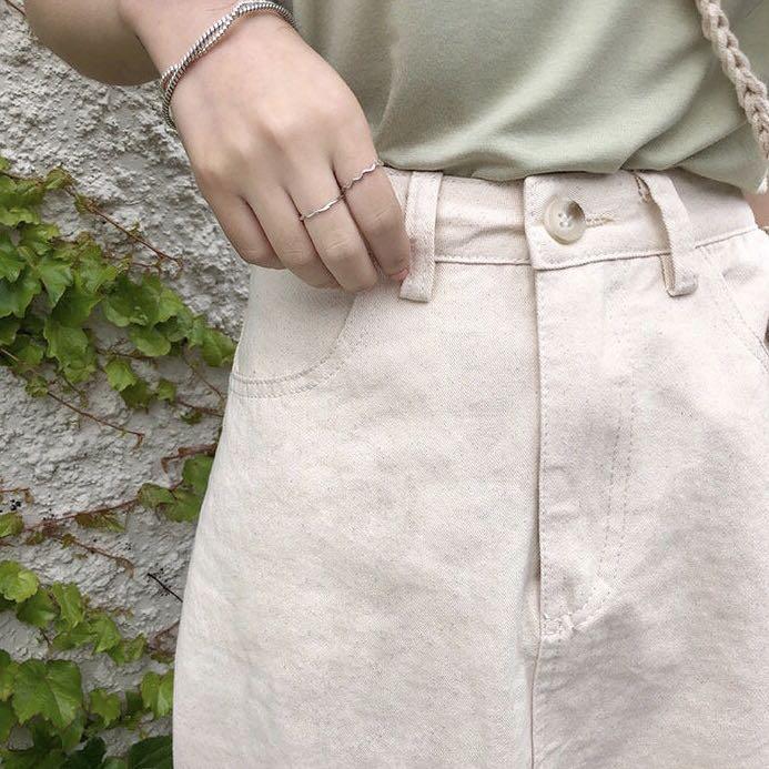 韓國歐膩☕️奶杏色高腰顯瘦後開衩A字牛仔半身裙長裙 S (全新僅試穿)
