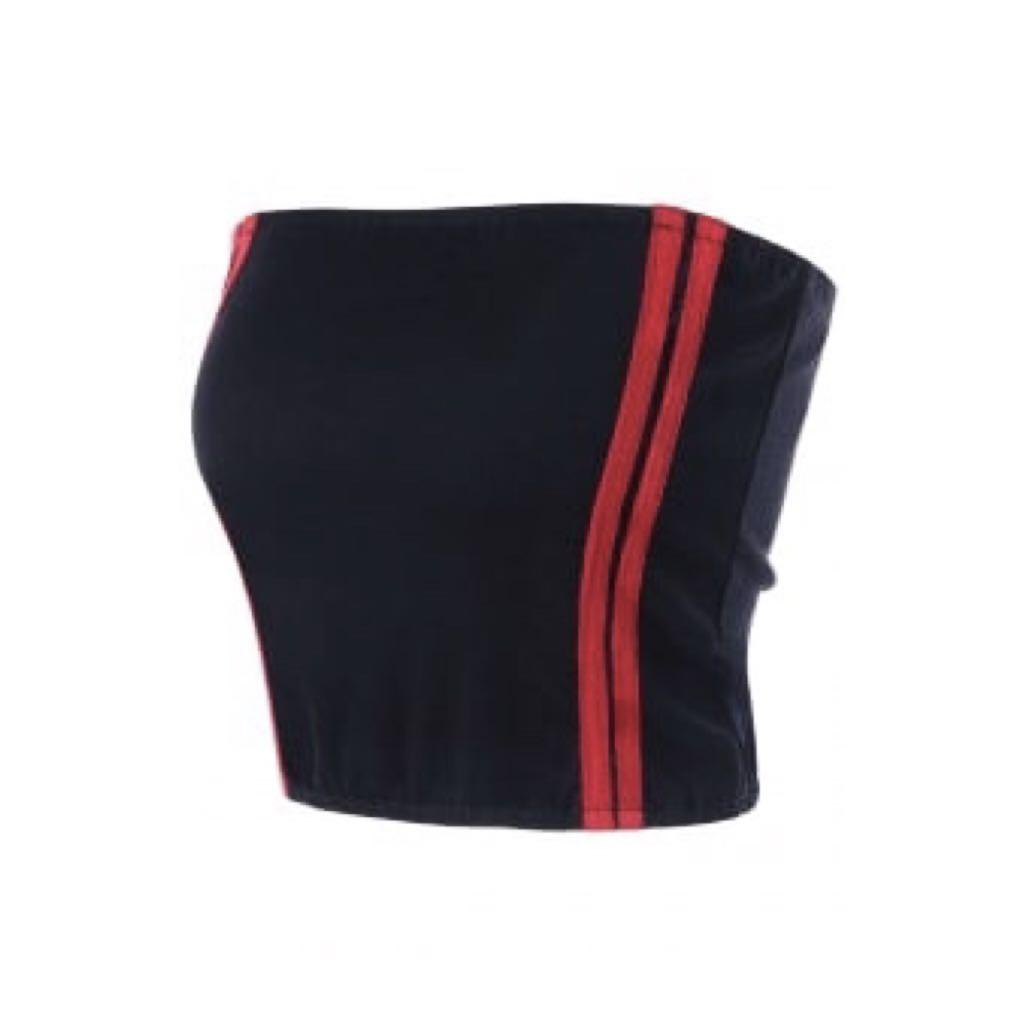 black red side stripe cropped tube top