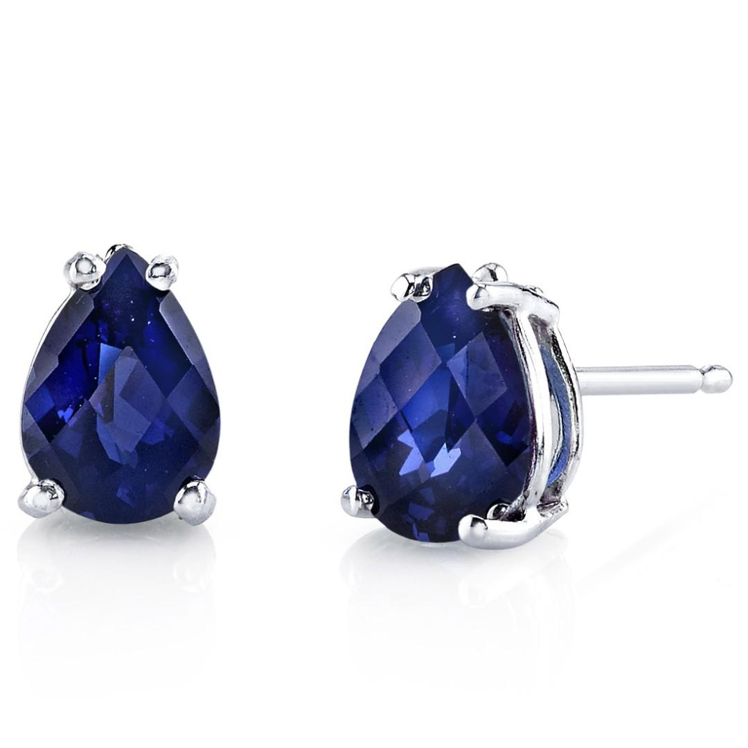 Blue Sapphire Stud Earrings 14K White Gold 1.5 Ct Lab Pear 7 x 5 mm