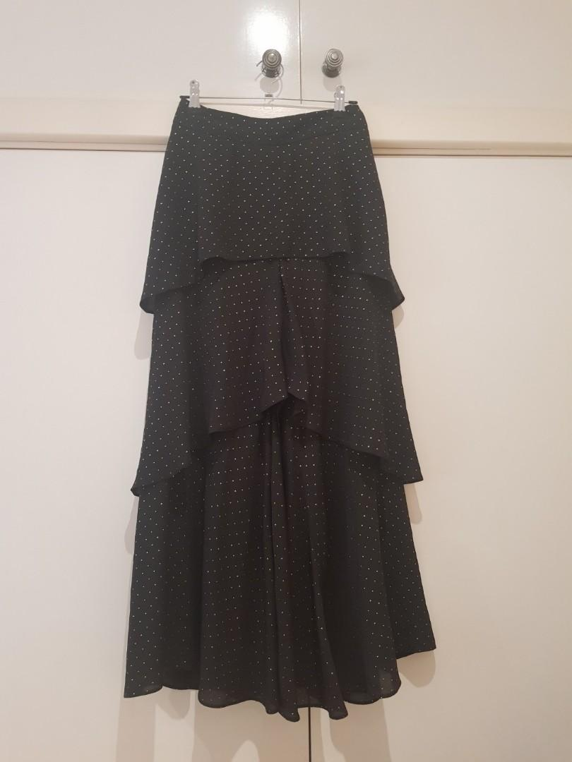 BNWOT River Island High Waisted Tiered Frill Wide Leg Pants Size XS/6
