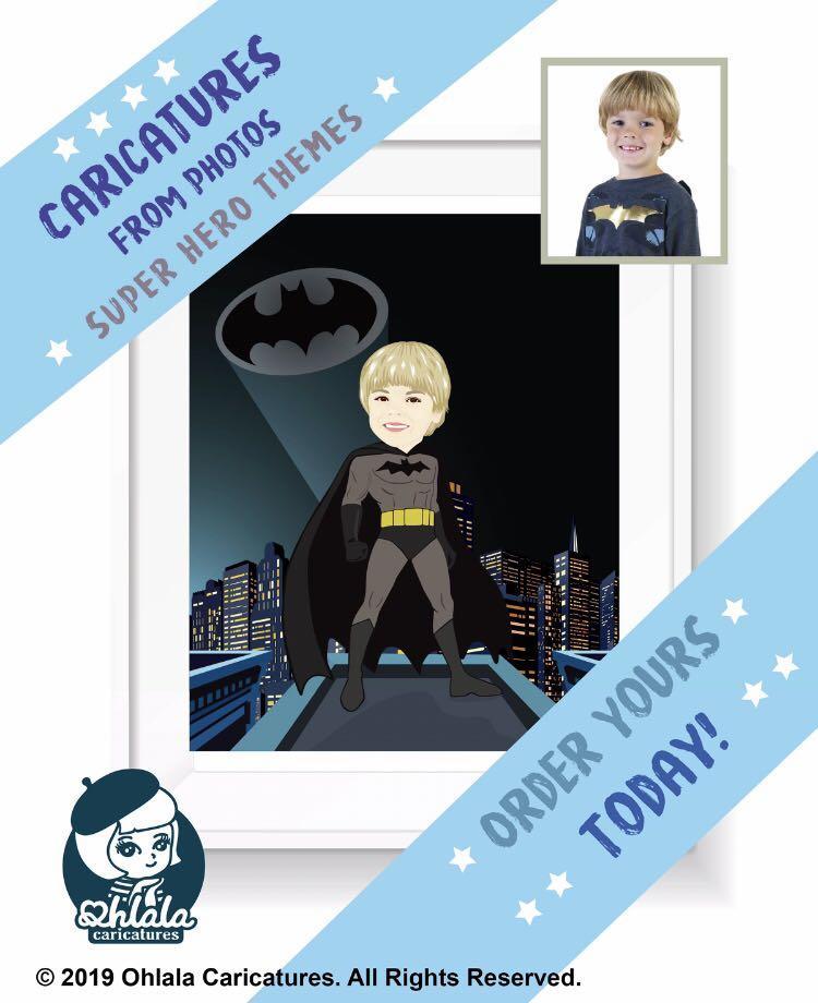 Custom caricature with your favourite Super hero theme DC comics