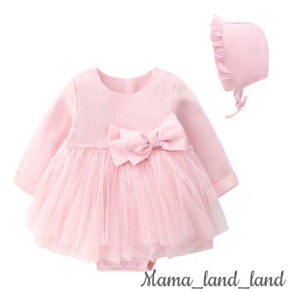 Gorgeous baby lace big ribbon dress + hat@Set